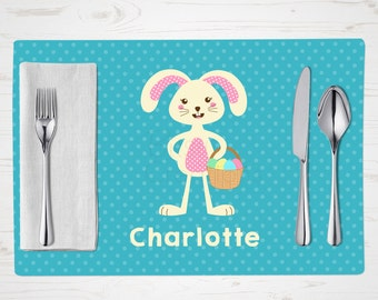 Children's Placemat - Easter Bunny Placemat - Girl Bunny - Personalized with Child's Name - Custom Placemat