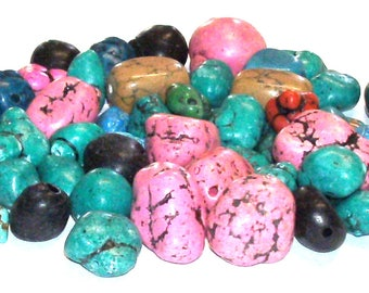 Destash Mixed Lot of 4 Oz. of Magnesite, Howlite and Imitation Turquoise Nuggets in Assorted Colors, Destash Beads, Destash Bead Lot