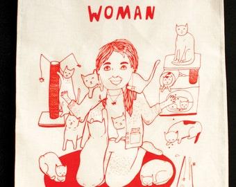 Tea Towel - Wacky Feline Woman