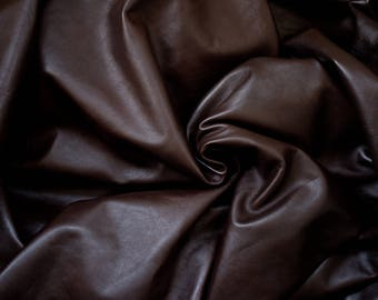 Dark Conker Leather - 100% Genuine Cow Hide Cut - 24 inches X 6.5 inches - Glossy Brown Chestnut