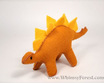 Miniature Orange Felt Toy Stegosaurus (dinosaur)