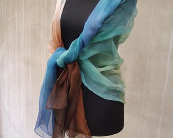 Colorful silk scarf, ombre silk scarf, fashion silk scarf, long silk scarf, Blue Brown scarf, gift for women, boho, Bohemian clothing