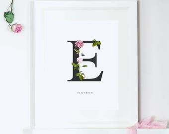 Personalised Name Print, Floral Art Print, Alphabet Art Print, Monogram Print, Birthday Card, Thank You Card, I Love You Card,