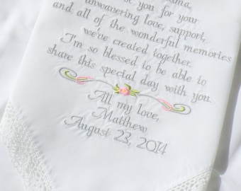 Embroidered Wedding Handkerchiefs Wedding Gift for Grandma of the Bride or Groom by Canyon Embroidery