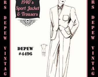 Menswear Vintage Sewing Pattern 1940s Men's Sport Jacket and Trousers in Any Size Depew 4496 - Plus Size Included -INSTANT DOWNLOAD-