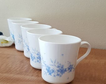Corelle Celestial Blue Mugs Celestial Blue White Corning Mugs Set of 5 Made in USA