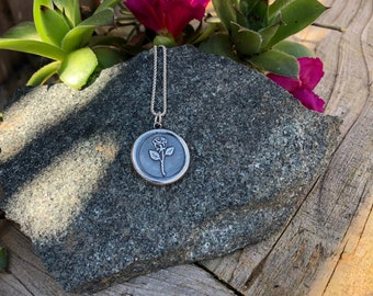 Rose Silver Wax Seal Stamp Necklace