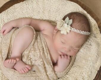 Baby girl headband, Dream Flower Crown, Newborn Photo Props, Baby Headband, floral headband, nylon headbands
