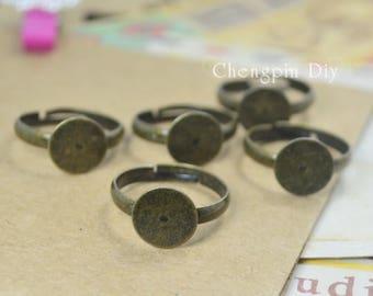 30pcs Blank Ring Base Brass Antique Bronze Adjustable Ring Base W/ 10mm Round Pad Glue on Base Setting Wholesale