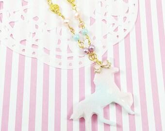 Gradient Pastel Unicorn Necklace   Fairy Kei Necklace   Lolita Unicorn Necklace   Mahou Kei Unicorn   Pastel Rainbow Unicorn   Sweet Lolita