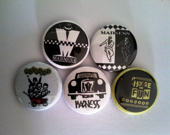 """5 x Madness 1"""" Pin Button Badges ( ska 2 tone records music specials selecter )"""