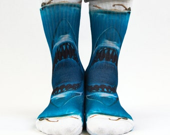 Samson® Jaws Shark Sublimation Hand Printed Socks Blue Ocean Quality Print UK