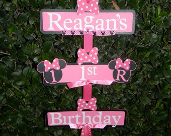 Minnie Mouse Party Sign - Black/Pink Black