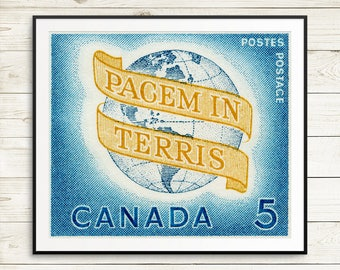 Peace Poster, World Peace posters, World Peace, Pacem In Terris, Canada stamp art, retro art, vintage poster art prints, large poster prints