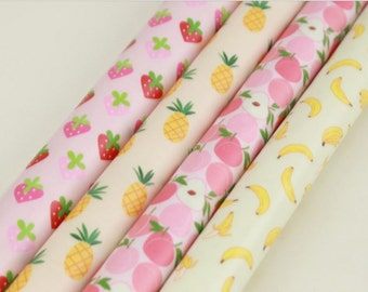 Laminated Cotton Fabric Pineapple Strawberry Peach Banana printed Fabric made in Korea by the Yard