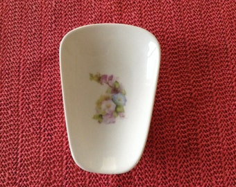 """Ceramic Spoon Rest With Morning Glory 5"""" Long And 3 1/2"""" Wide At Top of Spoon"""