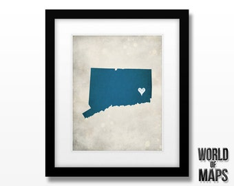 Connecticut Map Print - Home Town Love - Personalized Art Print Available in Multiple Sizes