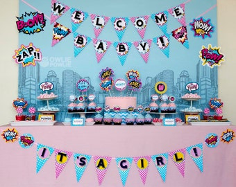 Pink Superhero BABY Shower Party Printable Package & Invitation, INSTANT DOWNLOAD, You Edit Yourself with Adobe Reader