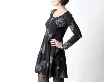 Black jersey dress, Floral long sleeved dress, Womens clothing, Womens dresses, MALAM