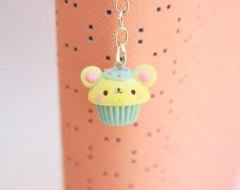 Cute Bear Cupcake - Polymer Clay Charm - Planner Charm, Bag Charm, Cellphone Charm