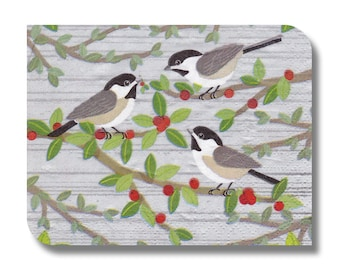 Christmas napkin serviette for decoupage (cocktail)  x 1. Decoupage, mixed media, home decor. Birds and berries . No 1086