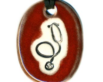 Stethoscope Ceramic Necklace in Red