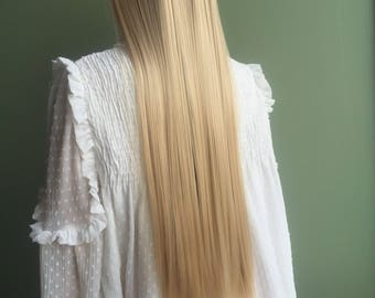 7Pcs Clip in 22 inches Hair Extensions like human hair Ash blonde 3/4 full-head synthetic long and soft