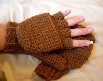 Brown Wool Convertible Mittens - Brown Wool Mittens - Brown Fingerless Mittens - Wool Fingerless Mittens - Brown Wool Mitts