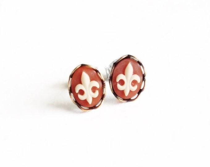 Fleur-de-Lis Stud Earrings Tiny Cameo Post Earrings Tiny Cameo Studs Fleur-De-Lis Hypoallergenic Earrings France Fleur-De-Lis Jewelry