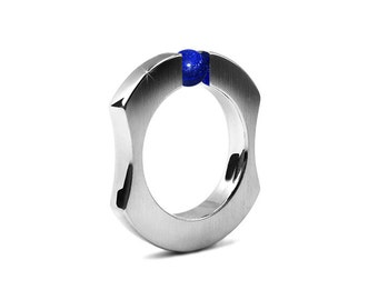 Mens Stainless Steel Ring with Tension Set Sphere