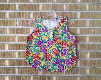 90s neon floral crop top -small-