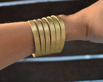 Metallic gold cuff bracelet, cuff bracelet, leather cuff, gold leather cuff bracelet