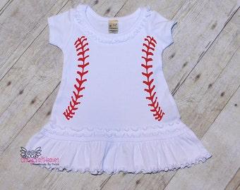 Baseball Dress, Baby Baseball dress, Toddler baseball dress, Child baseball dress, baseball outfit