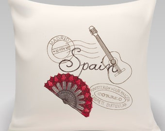 Spain-Embroidered decorative pillow - 16 inch pillow with choice of inserts-Princeton Threads