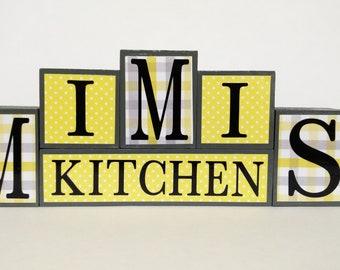 Wood Block Sign - MIMIS Kitchen - Yellow and Gray - Kitchen Decor - Mimi Gift