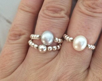 Grey Baroque Freshwater Pearl Sterling Silver stretch ring beaded stacking pearl ring large gray Pearl ring jewelry gray pearl jewellery