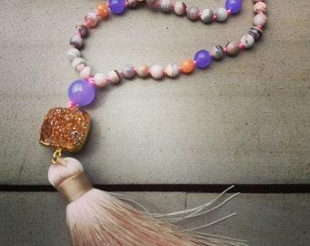 Emotional Healing Boswana Agate Mala Necklace