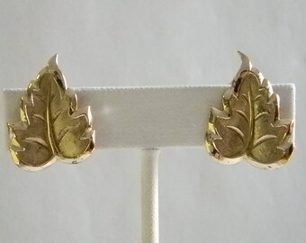 Small Gold Tone Leaf Clip Earrings