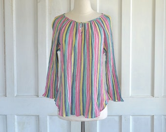 70s Cotton Gauze Striped Blouse Boho Tunic Top Hippie