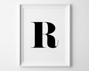 R Letter Print, Alphabet Prints, Capital Letter, Typography Wall Art, Black and White, Scandinavian House, Minimalist Style