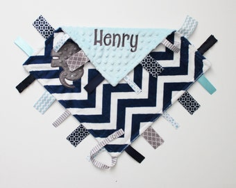 Personalized  DOUBLE MINKY Ribbon Tag Blanket with ELEPHANT and Pacifier Clip, Large 16 x 16