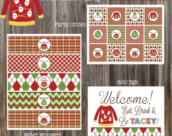 INSTANT DOWNLOAD - Ugly Christmas Sweater Party Printables
