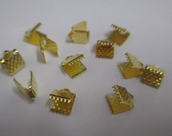 10 claw 6x8mm gold color metal end caps