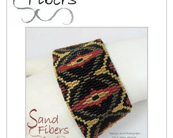Peyote Pattern - Dragon's Eye Peyote Cuff / Bracelet  - A Sand Fibers For Personal/Commercial Use PDF Pattern