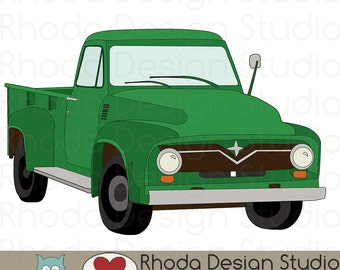 Green Route 66 Vintage Pickup Truck Stamp Digital Clip Art Retro