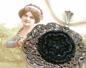 SNOWFLAKE, Antique BUTTON necklace. Victorian black glass star on ribbon. Choker. Antique button jewellery. ooak
