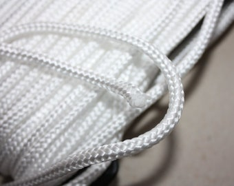 6 mm Braided Cord POLYESTER = 16 Yards = 14.63 Meters of Elegant Rope Super Bulky Yarn Decorative Rope Macrame Cord Nautical Theme White