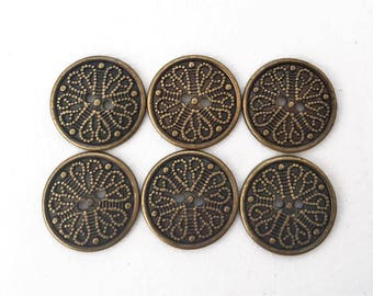 eco friendly antiqued brass bronze tone decorative plastic buttons--matching lot of 6
