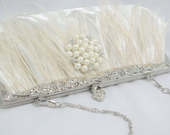 Ostrich Feather Bridal Clutch, Romantic Feather Bridesmaid Wedding Handbag, Pearl Clutch for Wedding, Bridal Clutch Ivory Feather Clutch bag