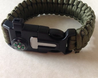 Tactical Survival Paracord Handwoven Bracelet Olive Wristband With Whistle, Flint Firestarter, and Compass Buckle